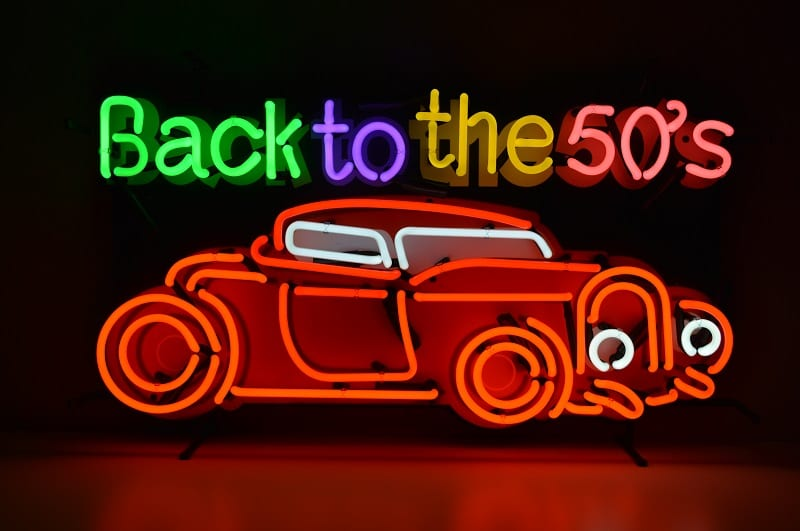 Insegna al Neon Back to the 50' cars